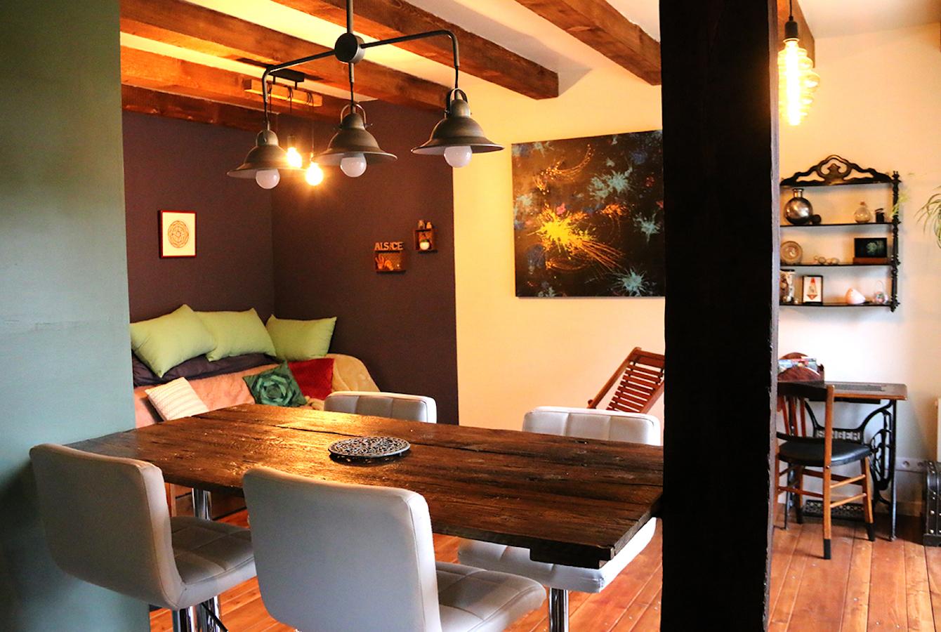 Le Séchoir du Ried - Le salon, le coin repas et le bureau